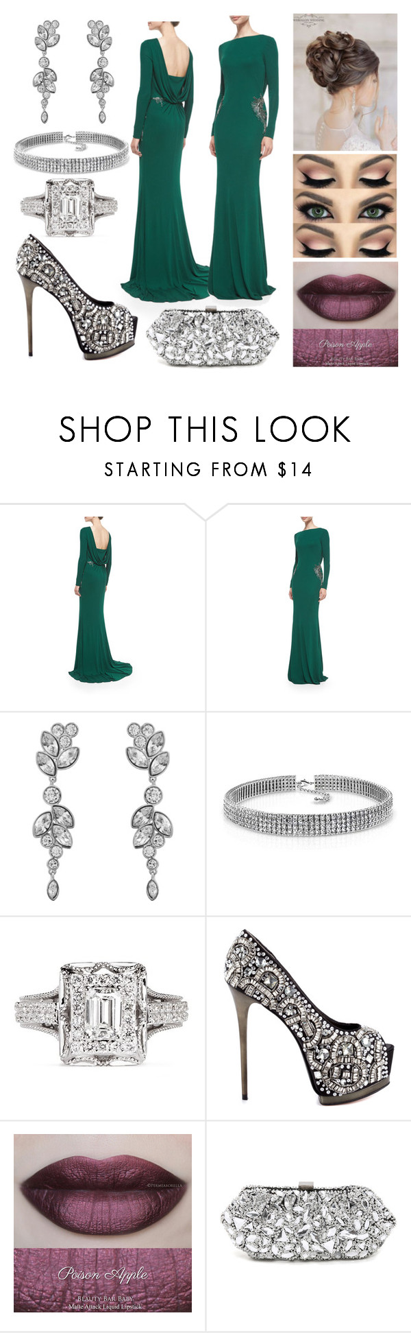 """Untitled #1202"" by the-wanted-potato ❤ liked on Polyvore featuring Badgley Mischka, Swarovski, Bling Jewelry, Vera Wang, ZiGi Black Label, She's So, Santi, women's clothing, women and female"