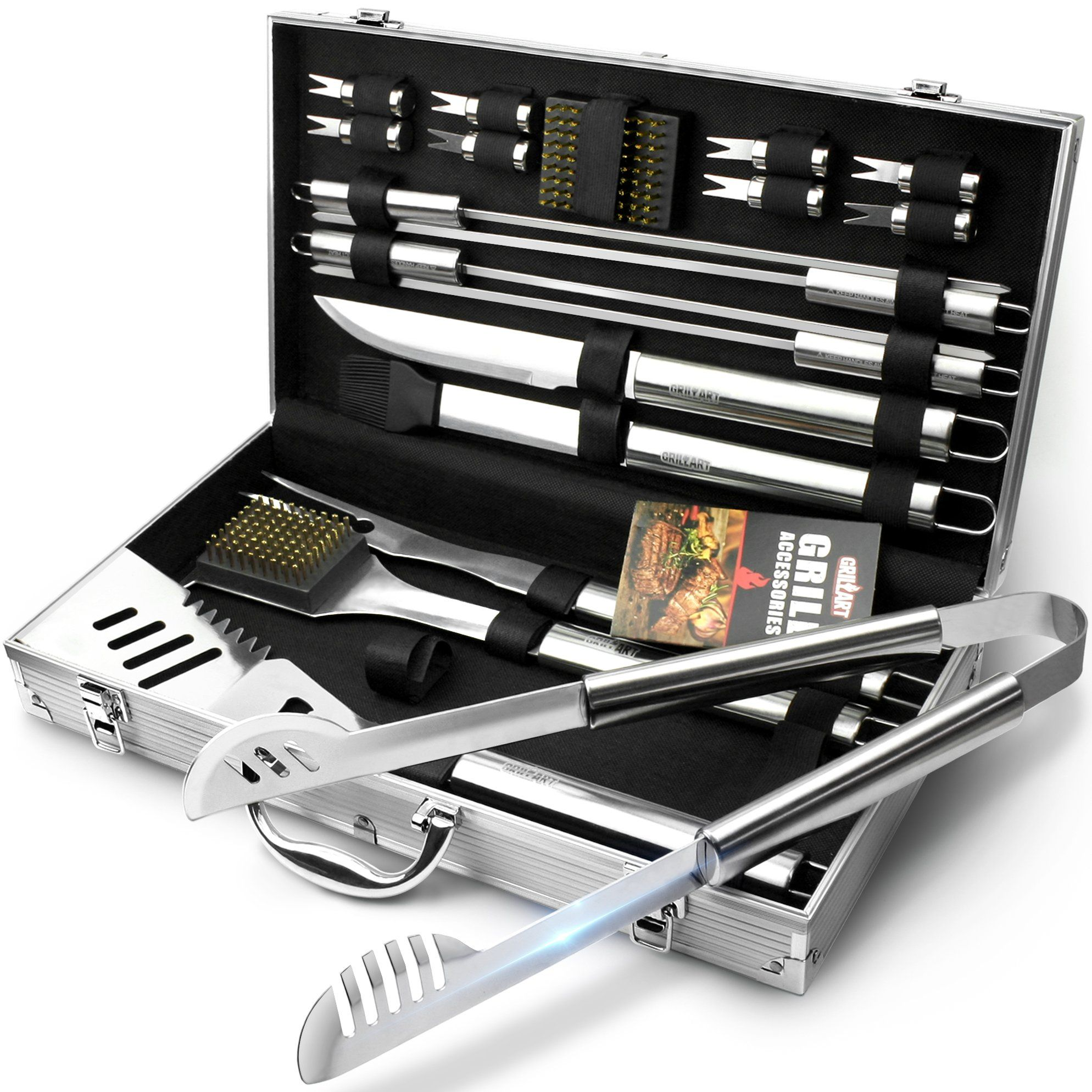 Bbq Grill Utensil Tools Set Grillart Reinforced Tongs 19 Piece Stainless Steel Barbecue Grilling Accessories With Aluminum Storage Case Complete