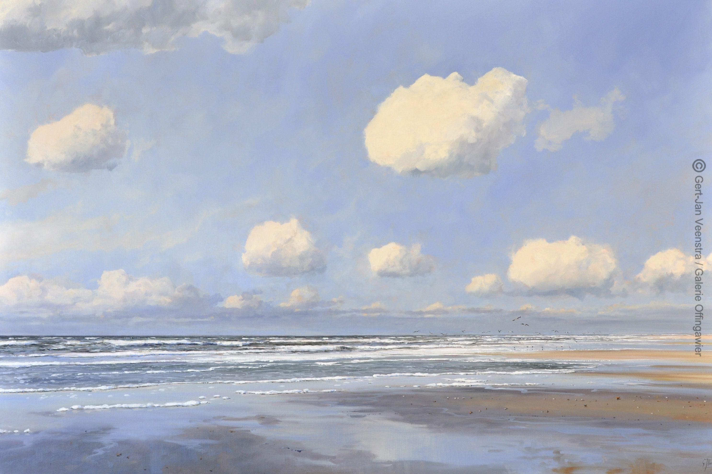 Noordzeestrand. Olieverf op doek 100x150cm. --sold-- ©Gert-Jan Veenstra  www.galerie-ofingawier.nl