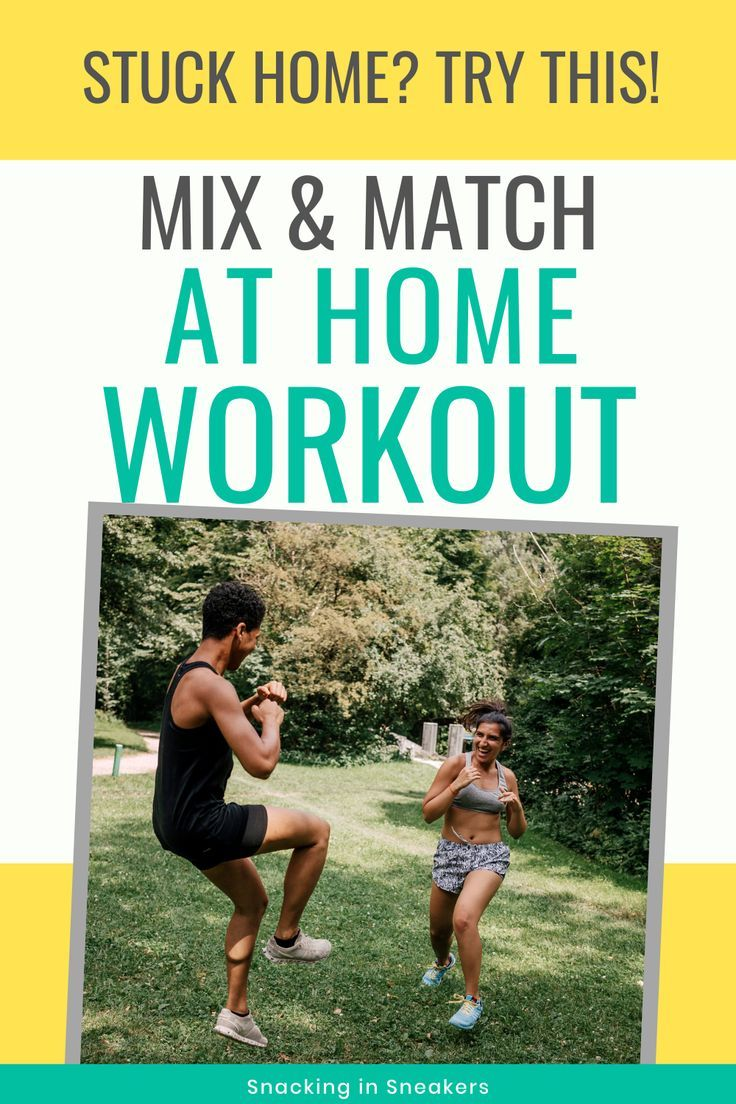 Looking for a good at home workout while you're stuck at home?  Try this mix and match workout!  You'll pick a few exercises from each category to put together a fully body workout. #workout