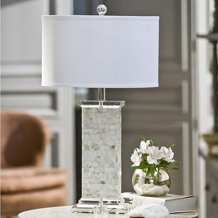 Crystal Mother of Pearl column lamp