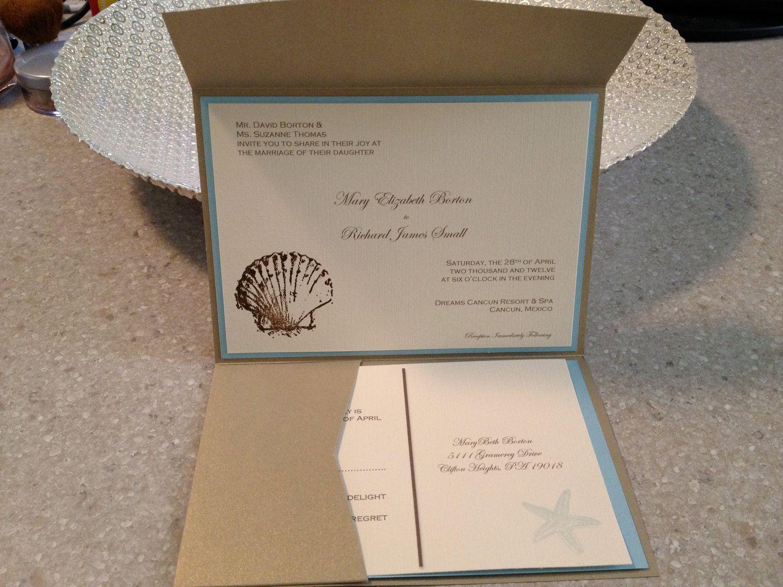 Sample Beach Destination Wedding Invitation, RSVP card, Lodging card, Directions card. $6.00, via Etsy.