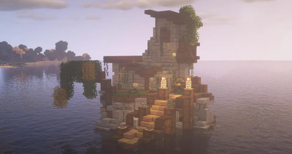 Abandoned House Out At Sea Minecraft In 2020 Minecraft Houses Minecraft Beach House Minecraft Blueprints