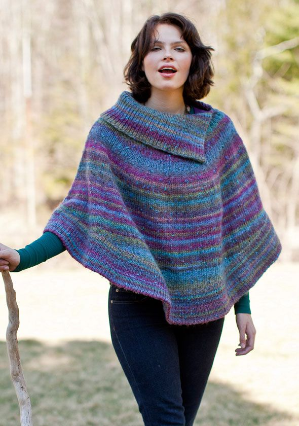 Berroco® Free Pattern | Flutterwheel. This split cowl neck poncho ...