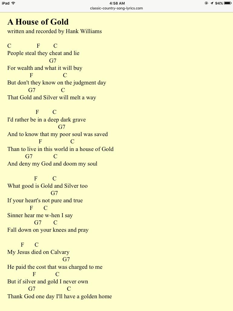 A House Of Goldhank Williams Gospel Songs Pinterest Songs
