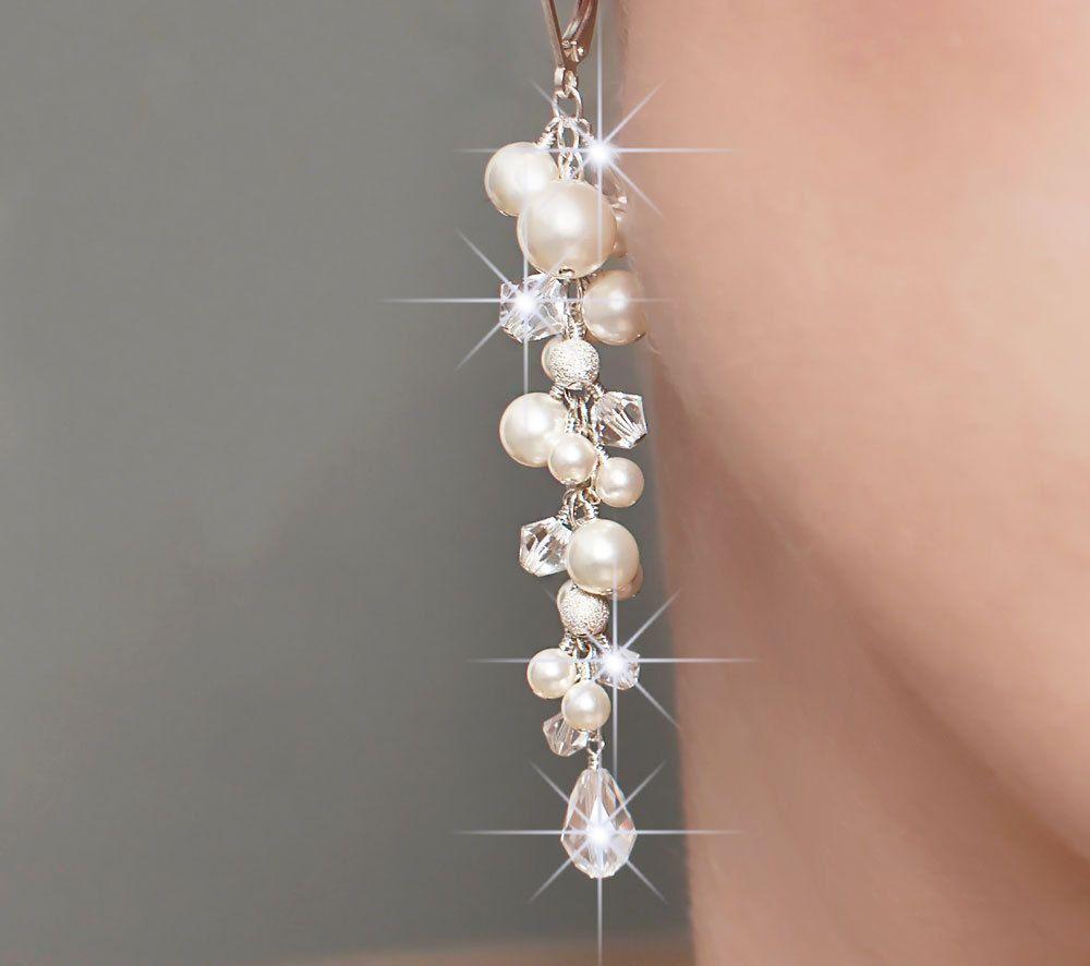 Wedding Earrings, Pearl Bridal Earrings, Long Pearl And Crystal Wedding  Jewelry $8800,