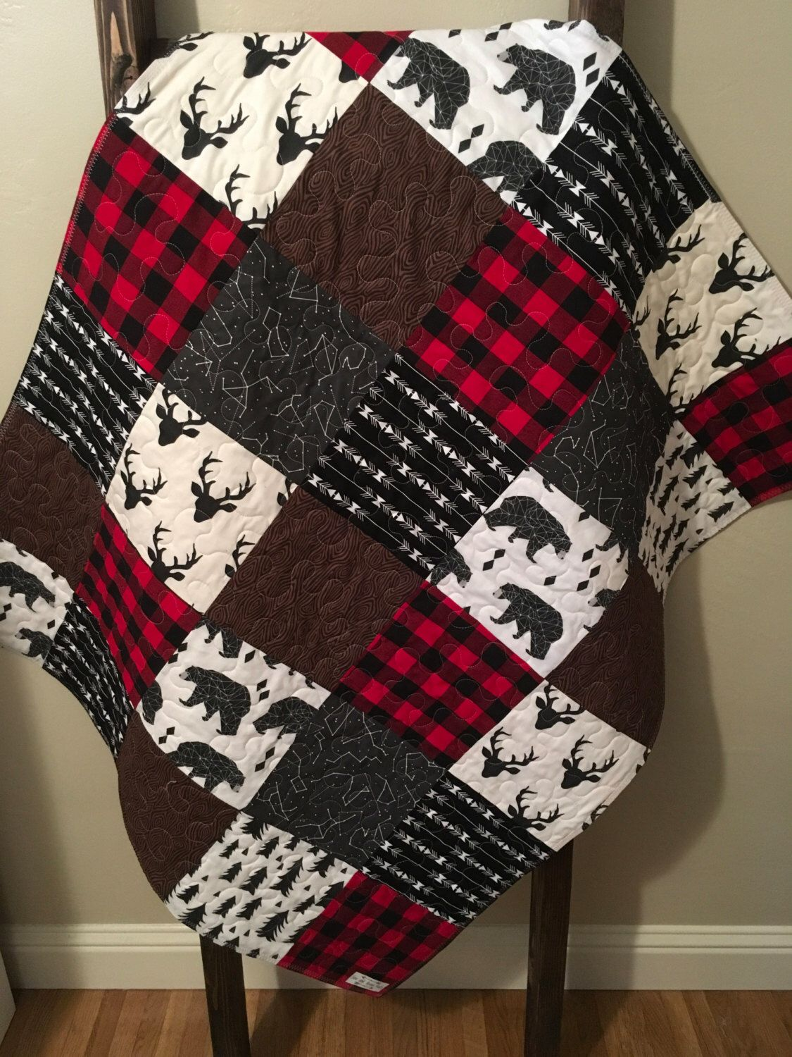 Baby Boy Quilt Rustic Baby Quilt Deer Baby Quilt Baby Boy Crib Bedding Woodland Buffalo Red Plaid Bear Arrow Tree Baby Boy Quilts Rustic Baby Quilt Baby Quilts