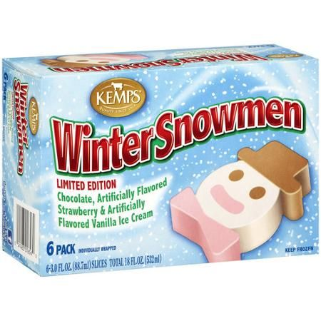 Kemps Winter Snowmen Ice Cream Slices 3 Fl Oz 6 Count