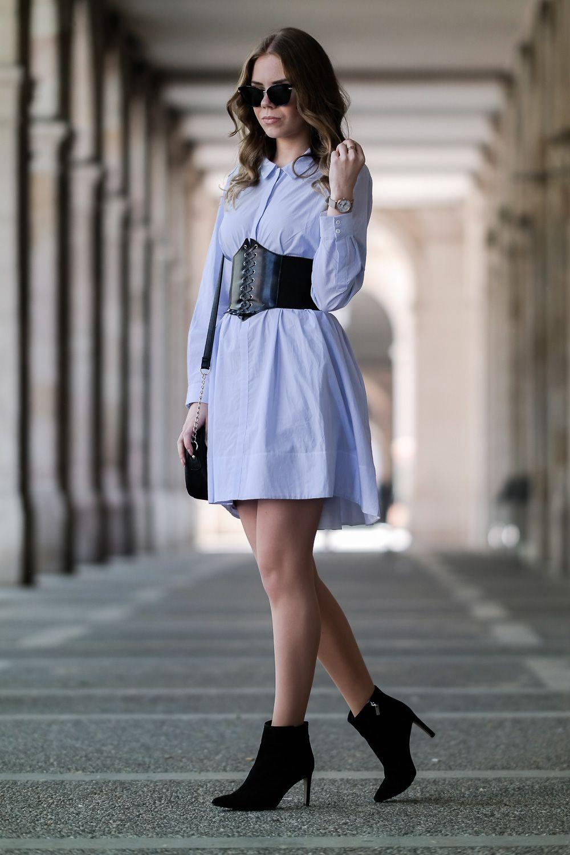 Attraktiv Stiefeletten Zum Kleid Referenz Von Mode Design München-barcelona Outfit-korsage-schwarz-oversize-kleid -sonnenbrille