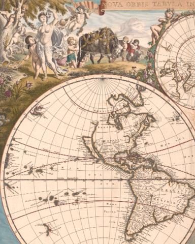 Antique Typographic World Map By Frederick De Wit Antique World