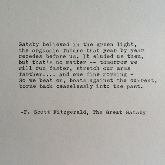 F. Scott Fitzgerald Great Gatsby Quote Hand Typed On