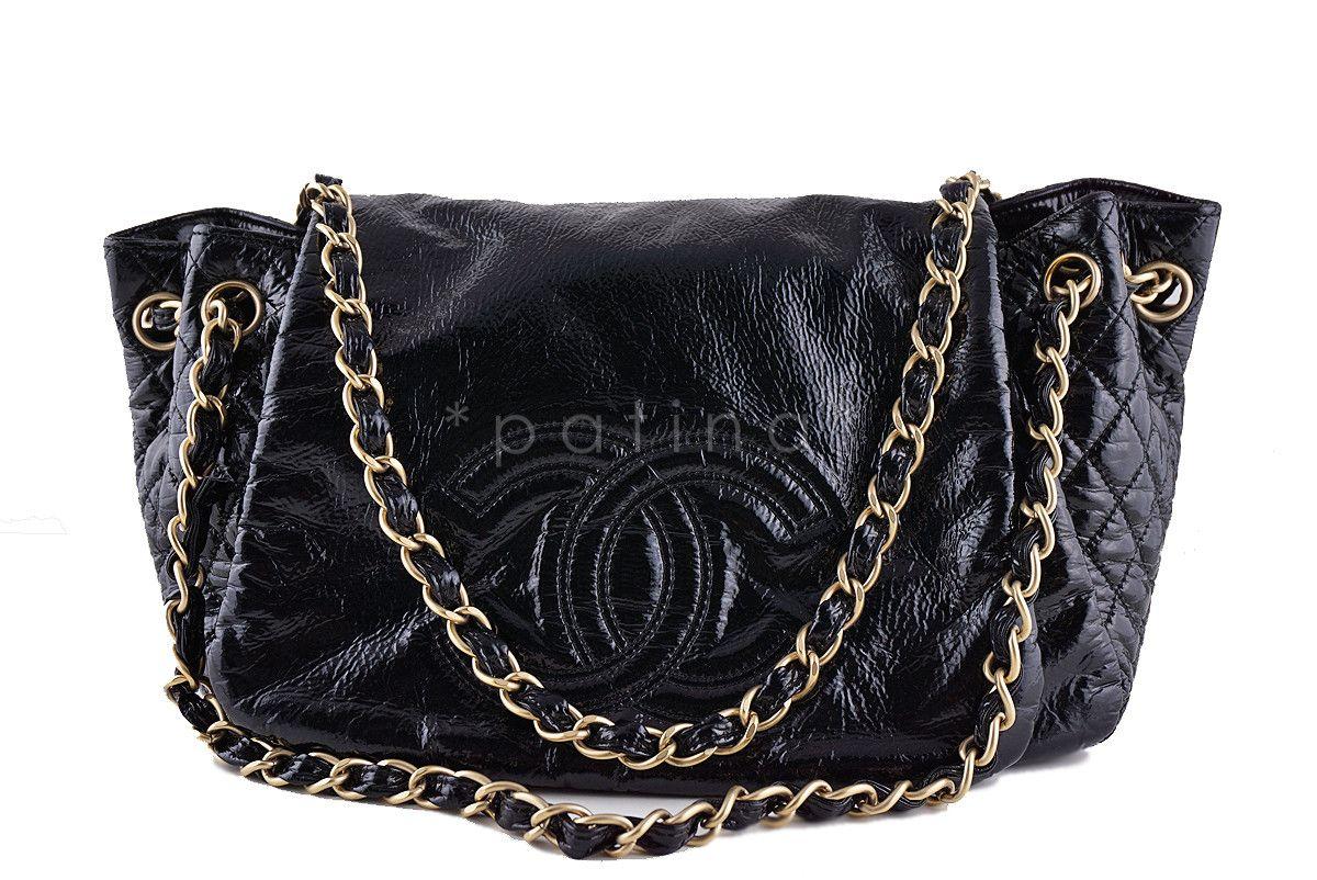 dc663c44be23 Chanel Black Jumbo Patent Rock & Chain Flap Bag | c h a n e l ...