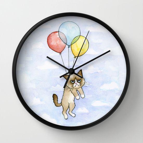 Cat With Balloons Grumpy Birthday Meme clock decor by Olechka