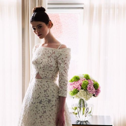 Ulyana Sergeenko Couture presentation in London. White jacquard gown #ulyanasergeenko  #couture #london #ss2015 #love  #ульянасергеенко #весналето2015 by ulyana_sergeenko_moscow