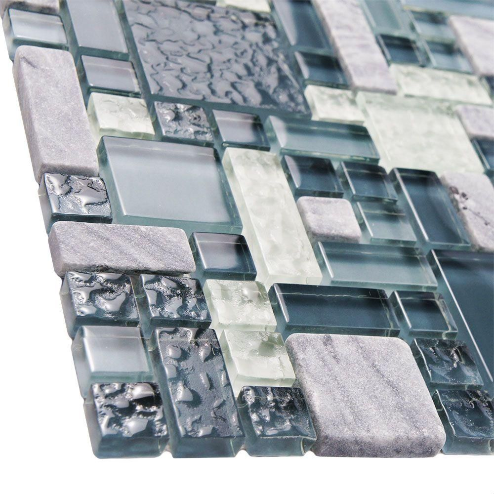 Merola Tile Tessera Versailles Gulf 11 3 4 In X 11 3 4 In X 8 Mm Glass And Stone Mosaic Tile Gittmvgf The Home Depot Stone Mosaic Stone Mosaic Wall Stone Mosaic Tile
