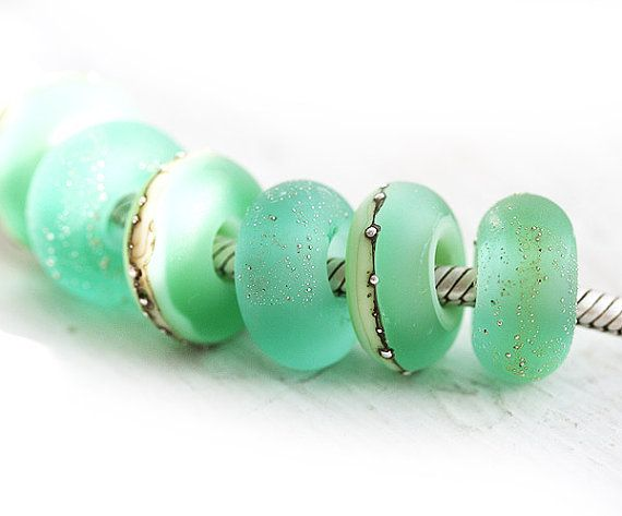 Seafoam Green European charm beads Seaglass by MayaHoneyJewelry