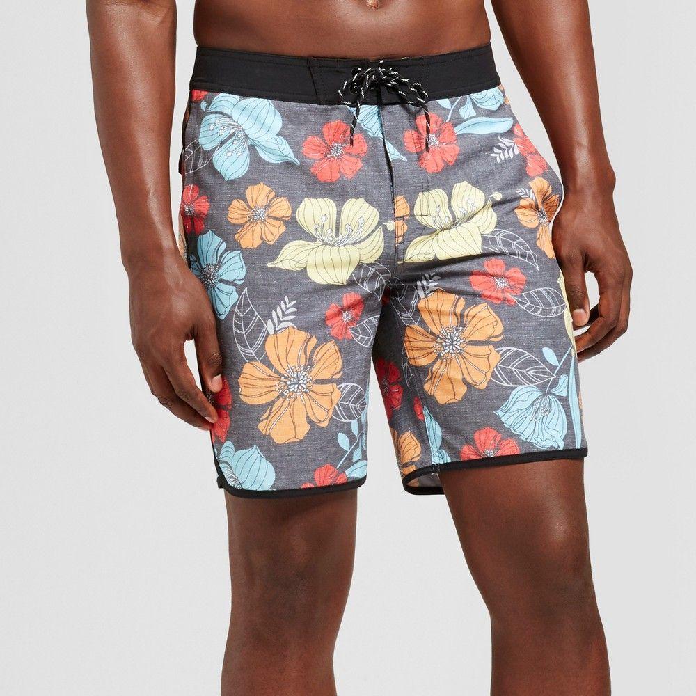 6bce8693d6 Men's 9 Floral Allover Board shorts - Goodfellow & Co Black/Floral 32, Gray