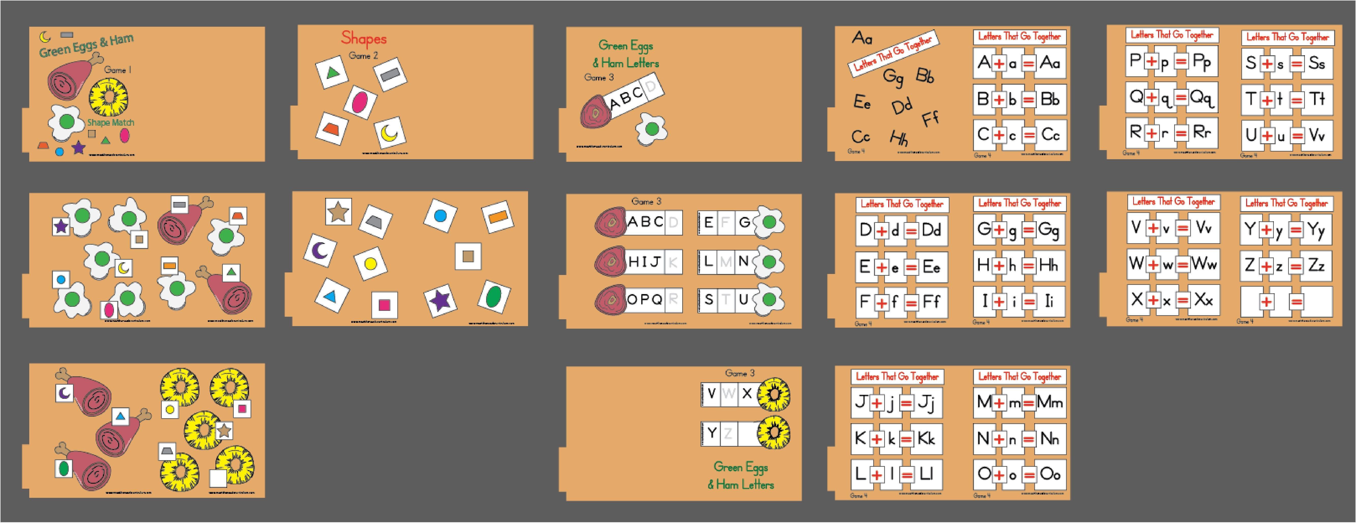 Dr Seuss File Folder Games Set 4 Shapes Amp Letters