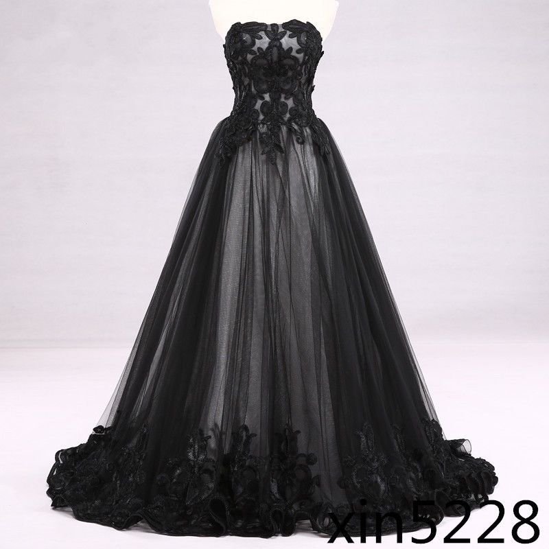 Victorian Gothic Wedding Dress Black White Bridal Gown Lace ...