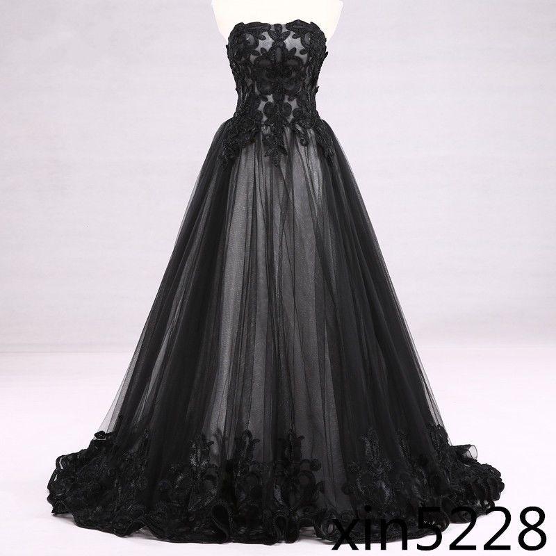 Gothic Wedding Dresses 2016 A Line Strapless Black Taffeta: Victorian Gothic Wedding Dress Black White Bridal Gown