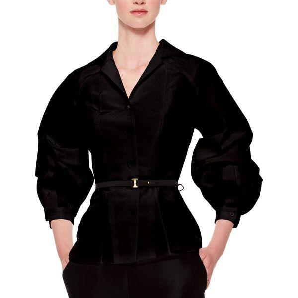 Carolina Herrera Silk Faille Balloon-Sleeve Blouse ($1,795) ❤ liked on Polyvore featuring tops, blouses, black, 3/4 length sleeve tops, black 3/4 sleeve top, carolina herrera, 3/4 sleeve tops and carolina herrera blouses