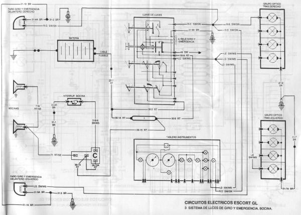 Pin en circuito electrico ford escort 93
