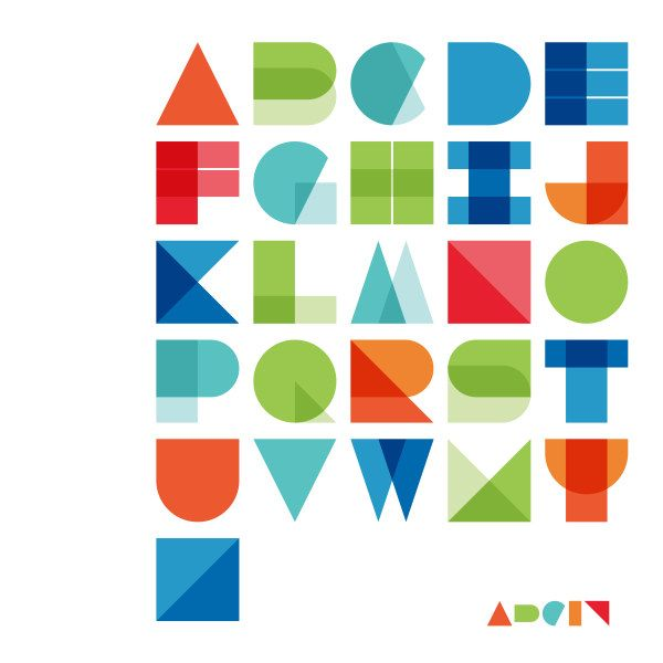 Abstract colored alphabet vector material - Vector Font free