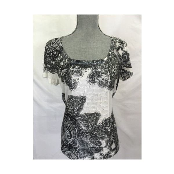 Chico's Black White Ruffle Shirt 1 Small s Womens 100 Polyester Casual... via Polyvore