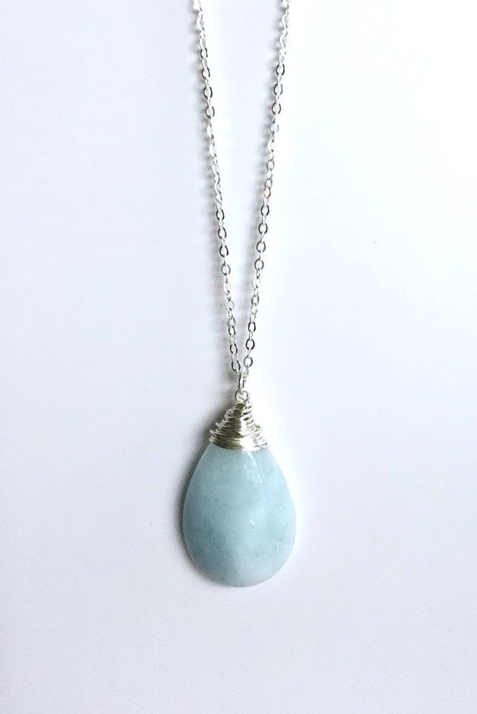 Large aquamarine necklace wire wrapped light blue stone pendant large aquamarine necklace wire wrapped light blue stone pendant march birthstone jewelry g aloadofball Image collections