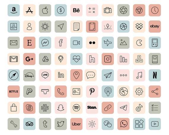 iOS 14 App Icons / 640 Pastel Aesthetic icons iOS1