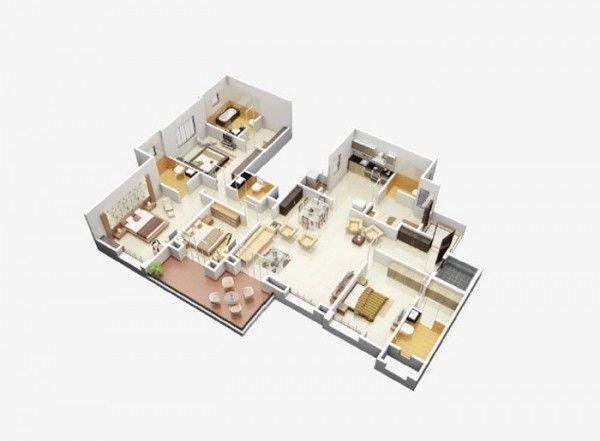 4 Bedroom Apartment House Plans 48 3d Home Design