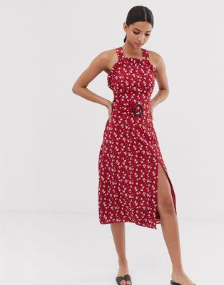 fashion union curved neckline midi dress with waist belt