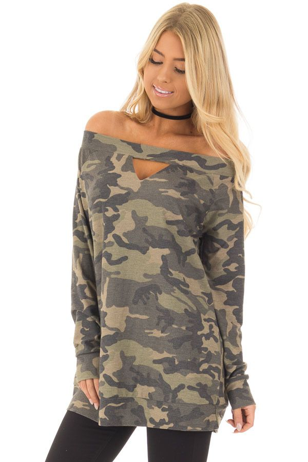 8ca19a3a0f58df Camouflage Off the Shoulder Top with Cut Out Details | Awesome Tops ...