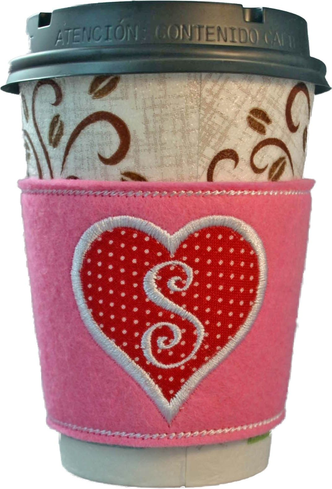 Monogrammed Heart Coffee Cozy - Go Green! Made right in the hoop of ...
