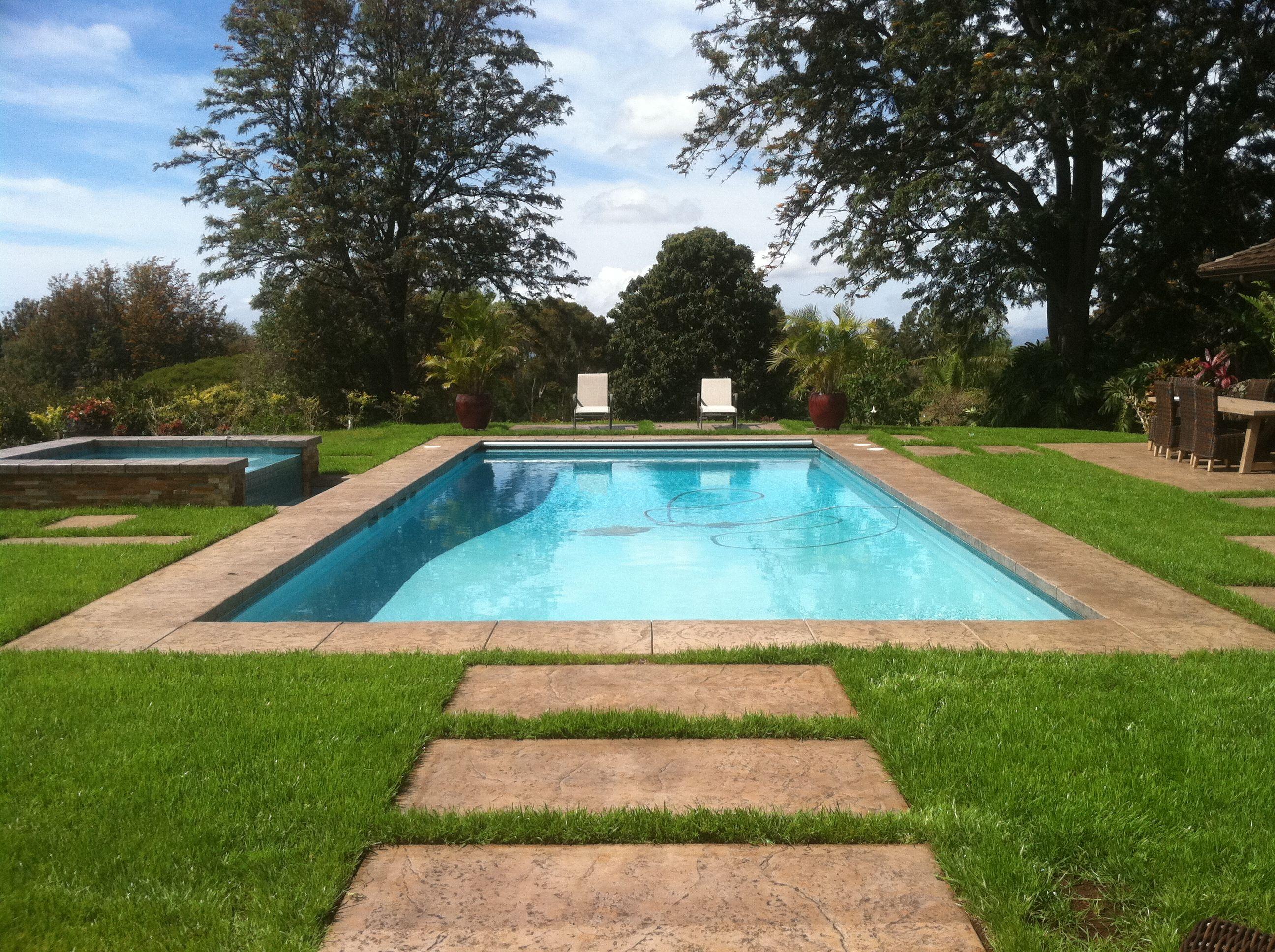 Classic Backyard Pool For Family Fun! Bimini Teal Hydrazzo, Stamped Concrete  Coping U0026 Decking