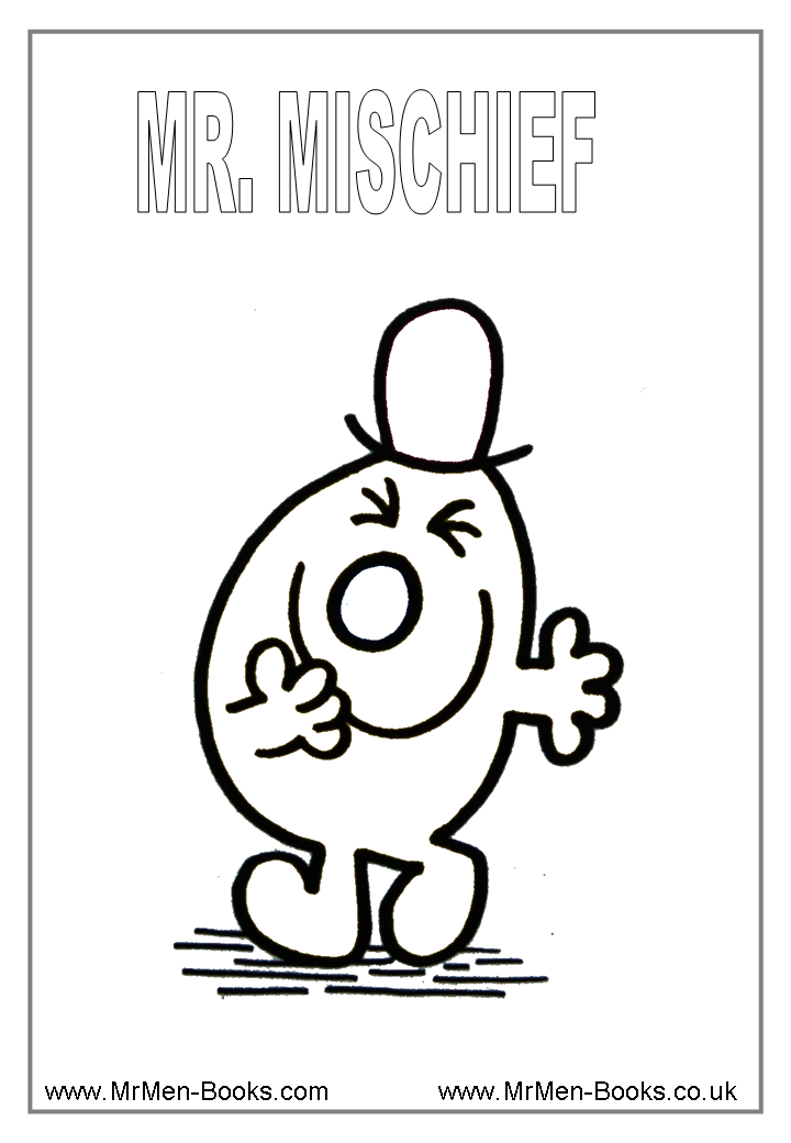 Mr Men Colouring Pages Mr Mischeif Coloring Sheets Mr