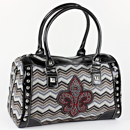 NEW !! DESIGNER INSPIRED FLEUR DE LIS- CHEVRON PATTERN  PURSE.  HAS ZIP TOP CLOSURE.  MEASURES APPROX. 15 INCHES WIDE BY 8 INCHES TALL AND 7 INCHES DEEP. REALLY PRETTY!!!!