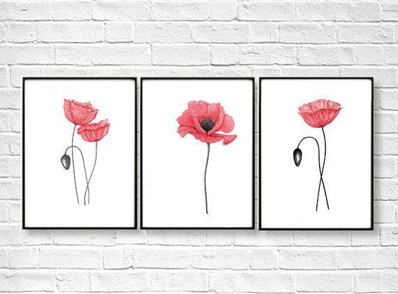 Watercolor Poppy Flower  Art Print Home Decor Wall Art Poster