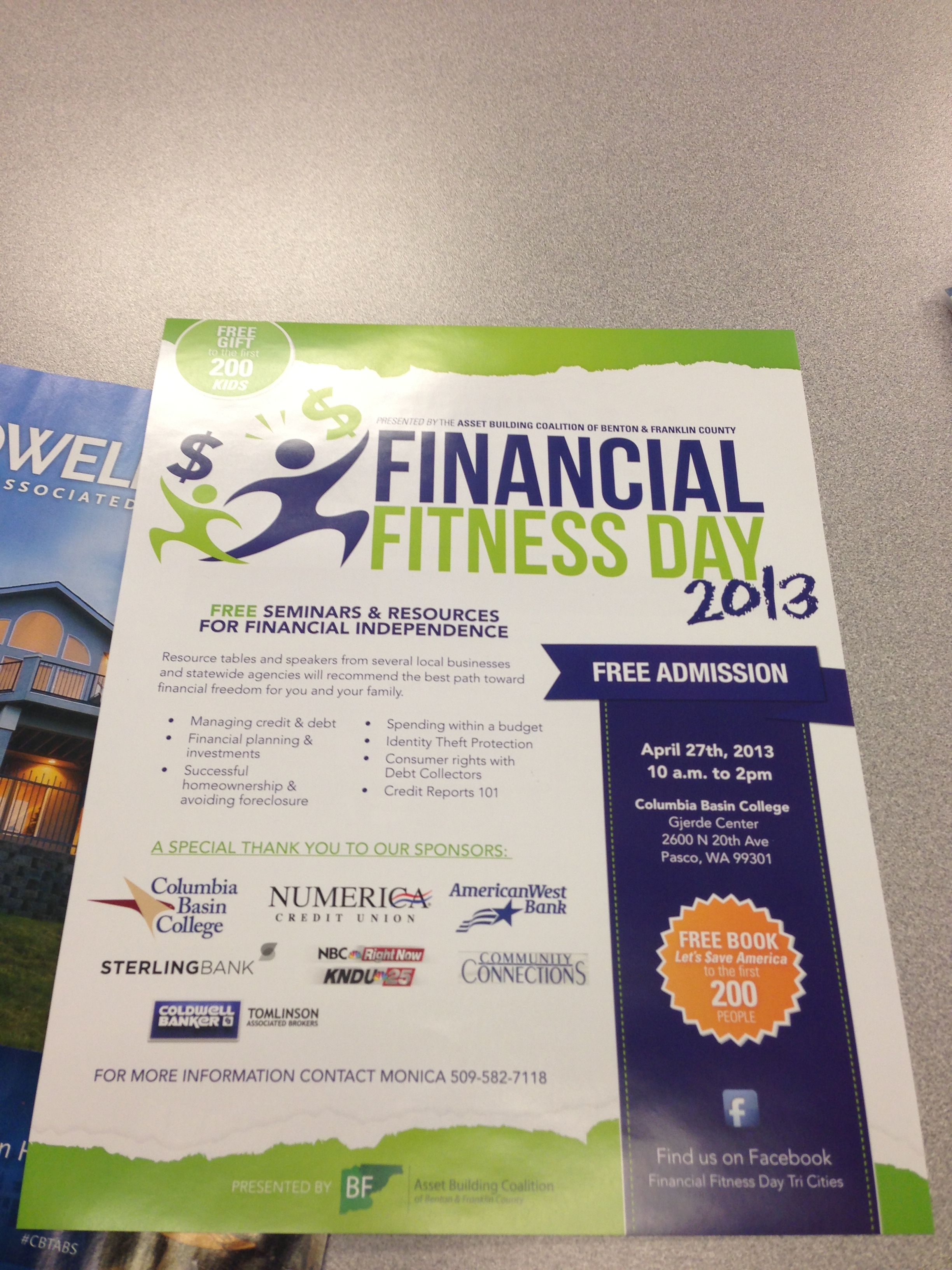 Financial Fitness Day Next Weekend In Pasco Wa Financial Seminar Financial Fitness Financial Literacy