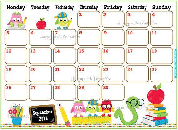 November Calendar Art For Kids : Calendar september printable back to school planner