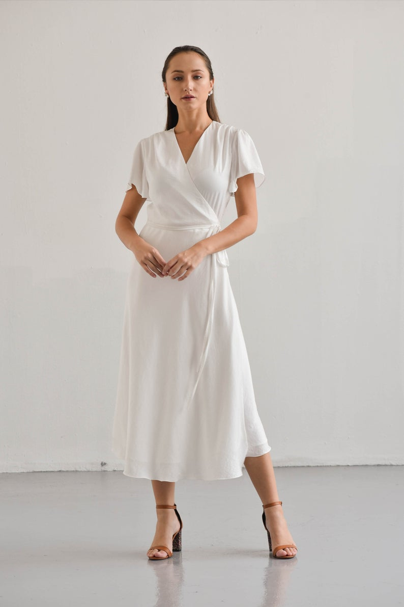 Wendy White Wrap Dress Short Sleeves Wrap Dress Bridesmaid Etsy Wrap Dress Short Minimalist Dresses Wrap Dress Bridesmaid [ 1191 x 794 Pixel ]