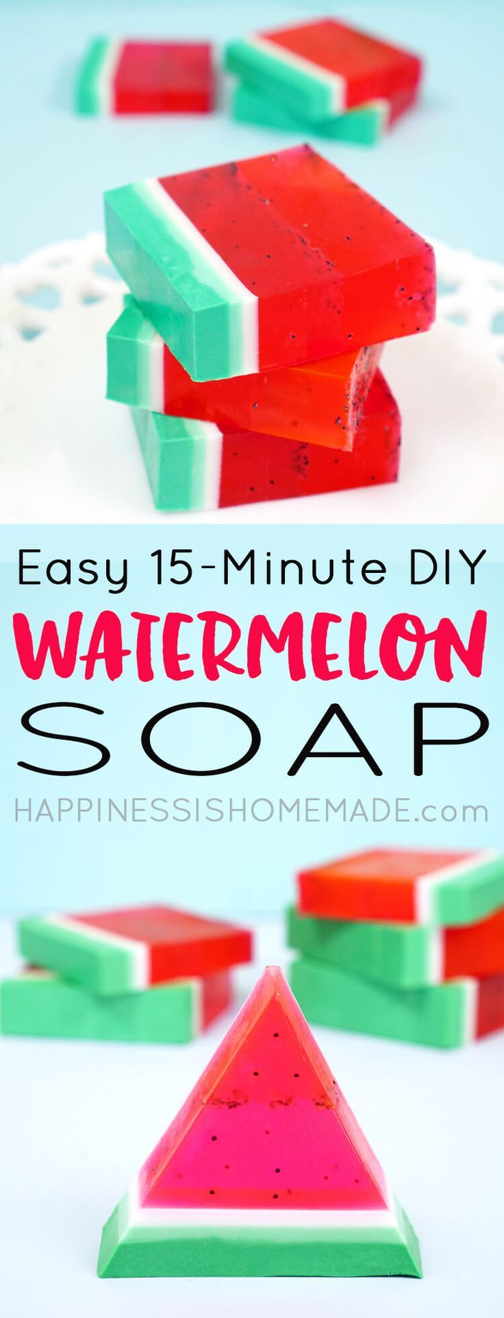 This cute and easy DIY Watermelon Soap can be made in just 15 minutes, and it smells delicious! A quick and easy homemade gift idea that's perfect for friends, family, teachers, and more! via @hiHomemadeBlog #craft