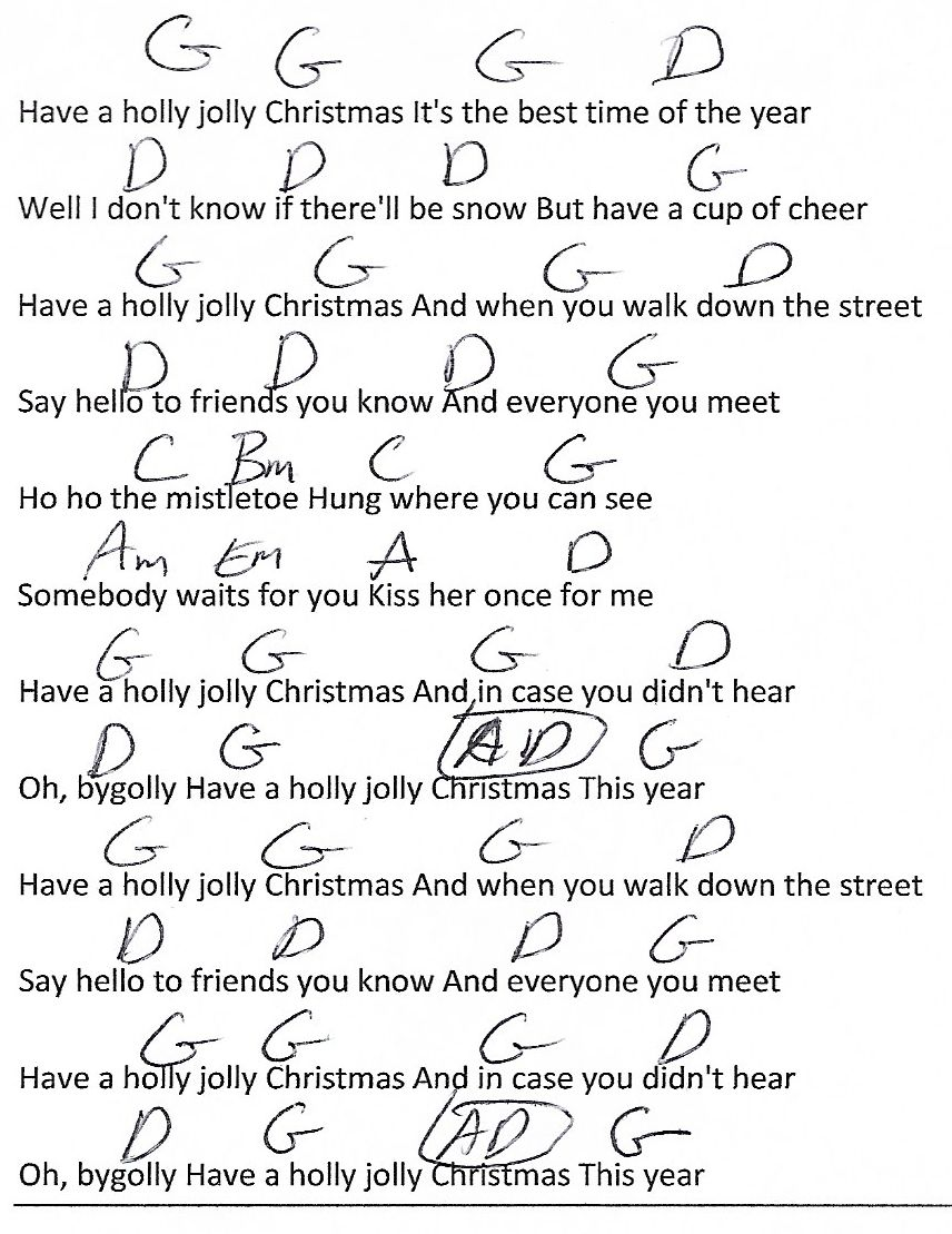 A Holly Jolly Christmas G Major Guitar Chord Chart