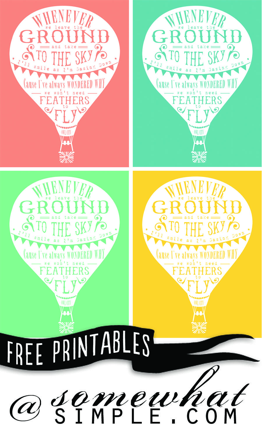 Four Free Hot Air Balloon Printables Quotes Camp Pinterest