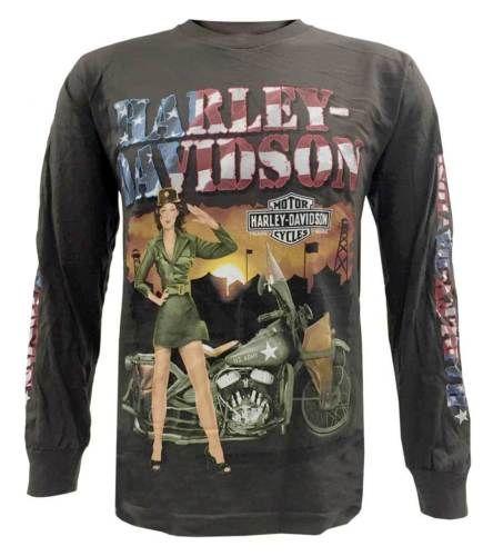 Harley-Davidson-Mens-Long-Sleeve-Shirt-Patriotic-Army-Pinup-Girl-Chocolate