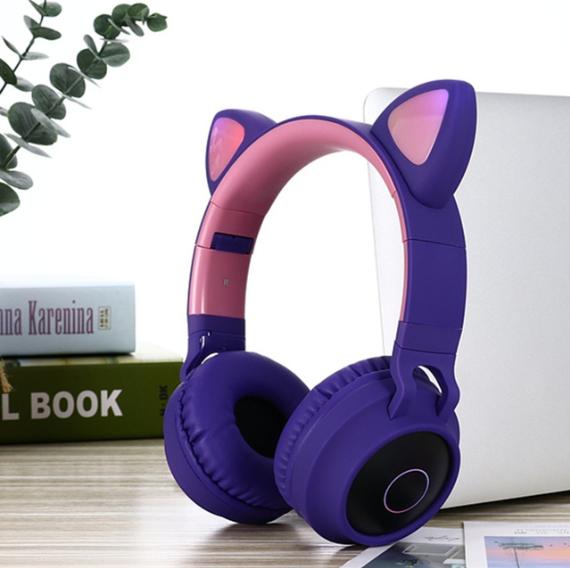 Wireless Cat Ear Headphones Bluetooth Headset In 2020 Wireless Cat Ear Headphones Cute Headphones Headphones