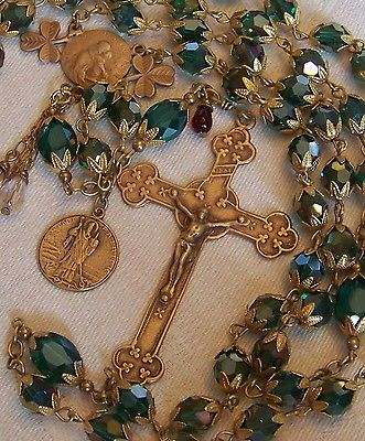 Irish Rosary ~ St Patrick ~ 8mm Green Crystal ~ Antique Bronze Design Handmade #rosaryjewelry