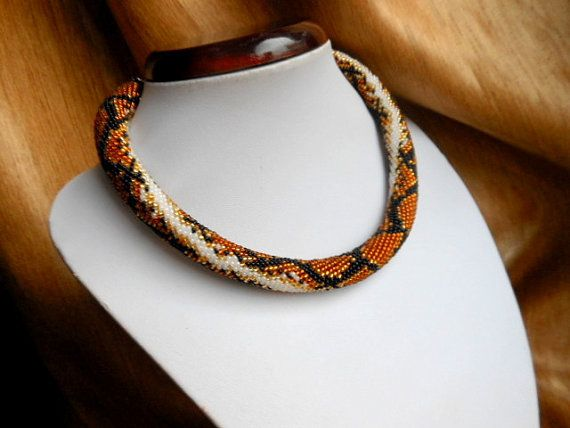 Brown Snake necklace bead Crochet necklace by BeadedJewelryVirunia