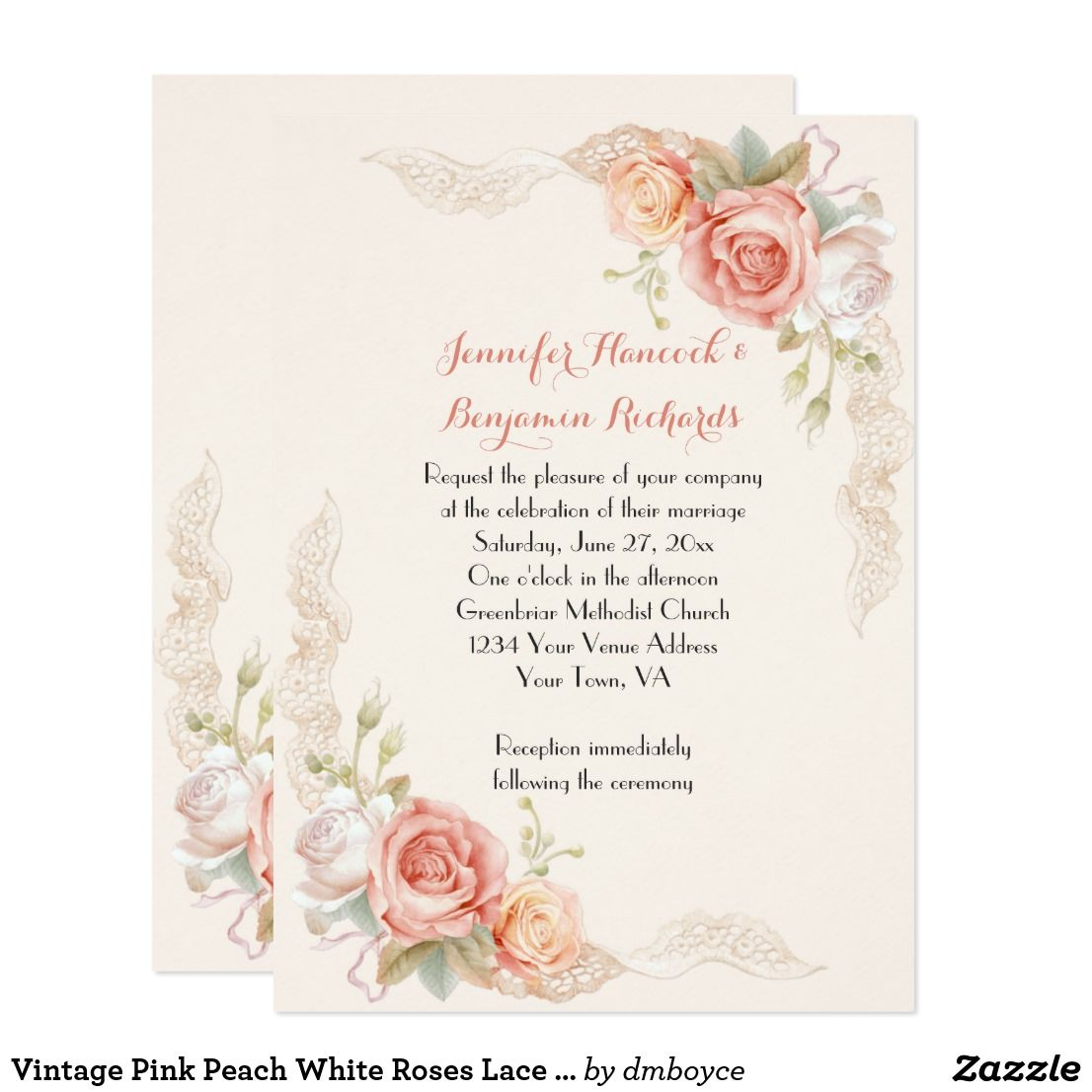 Vintage Pink Peach White Roses Lace Wedding Invite | White roses ...