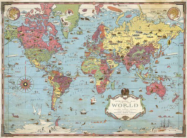 Vintage toile de coton peinture à lu0027huile Mercator carte du monde